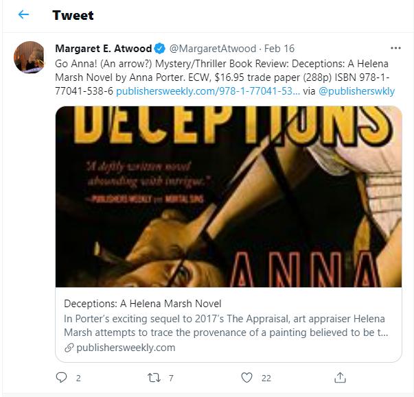 Tweet by Margaret Atwood